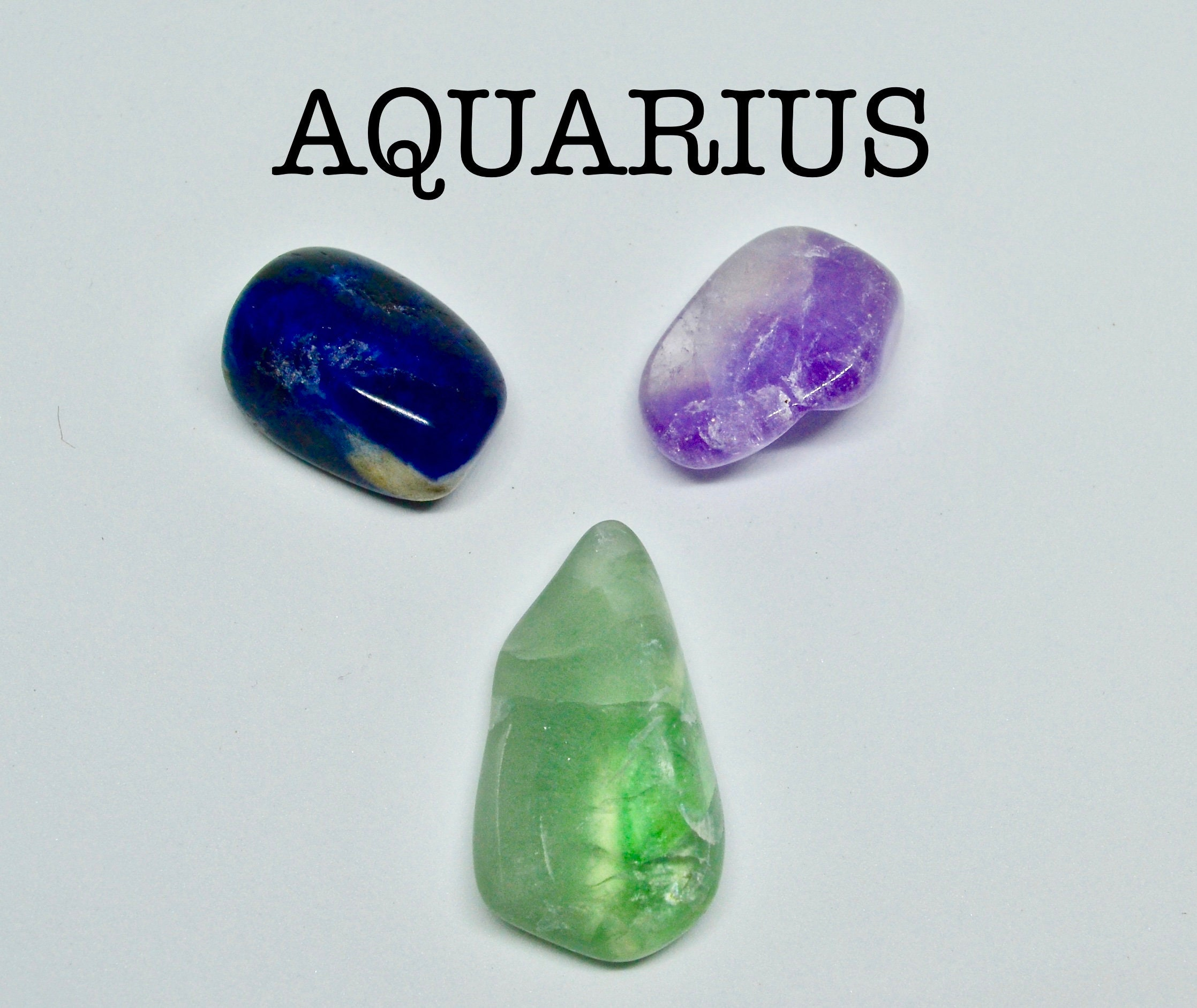 AQUARIUS crystals, star sign Aquarius, gift for Aquarius, astrology crystals, zodiac stones, birthstone, Fluorite, Amethyst, Sodalite, gift