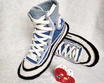 171662bc1120b6 Knitted converse boots 39 Women socks slippers Crochet converse boots  Knitted converse sneakers Knitted present for girlfriend House slipper