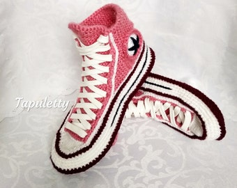 926277f91a5f Knitted Converse slippers Knitted house slippers women Converse boots Crochet  converse sneakers Socks with sole House shoe Christmas present