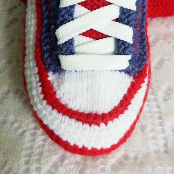Tricoté converse pantoufles42 vert au crochet tricot botte les hommes Crochet bottes converse tricoté converse baskets maison crochet chaussure