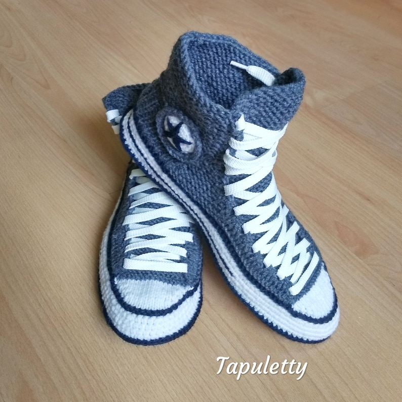 Grey house slippers men Knitted converse slippers 45 Socks with sole Crochet converse boots Knitted converse sneakers Present for boyfriend