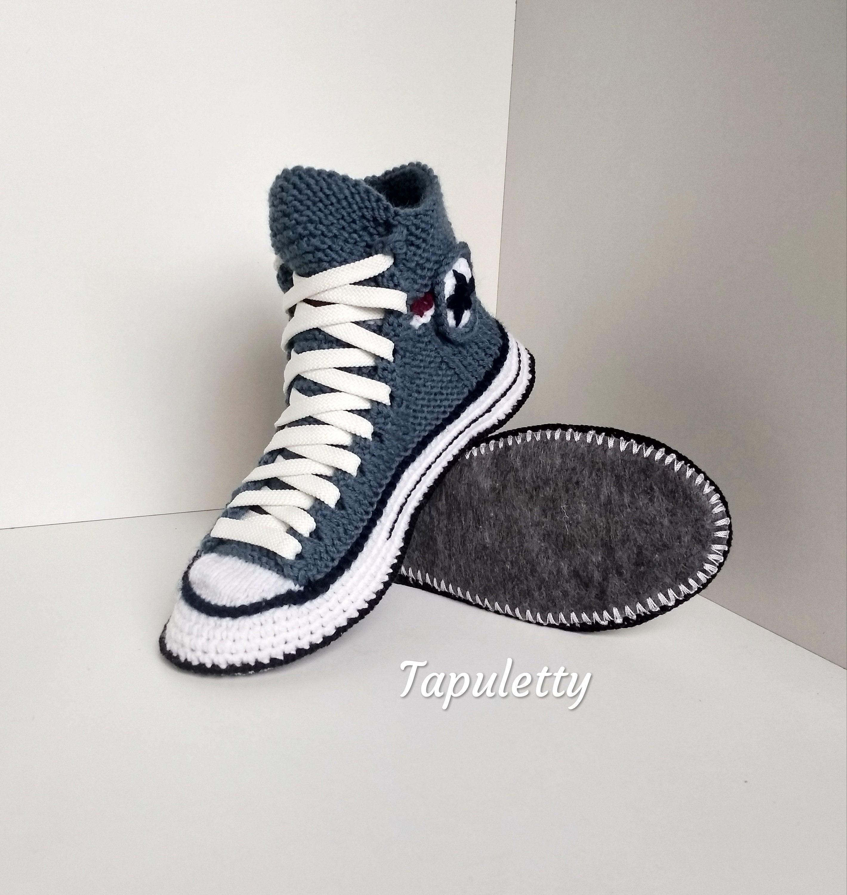 Knitted converse slippers43 House slippers men Crochet converse sneakers Socks with sole Crochet home slippers Athletic slippers Knit boots