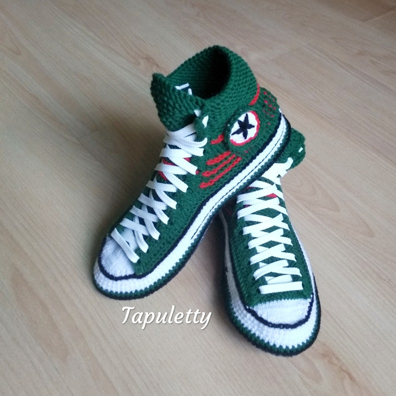 Knitted converse slippers46 House slippers men Knitted converse sneaker Socks with sole Green knitted boot Socks slipper Athletic slippers