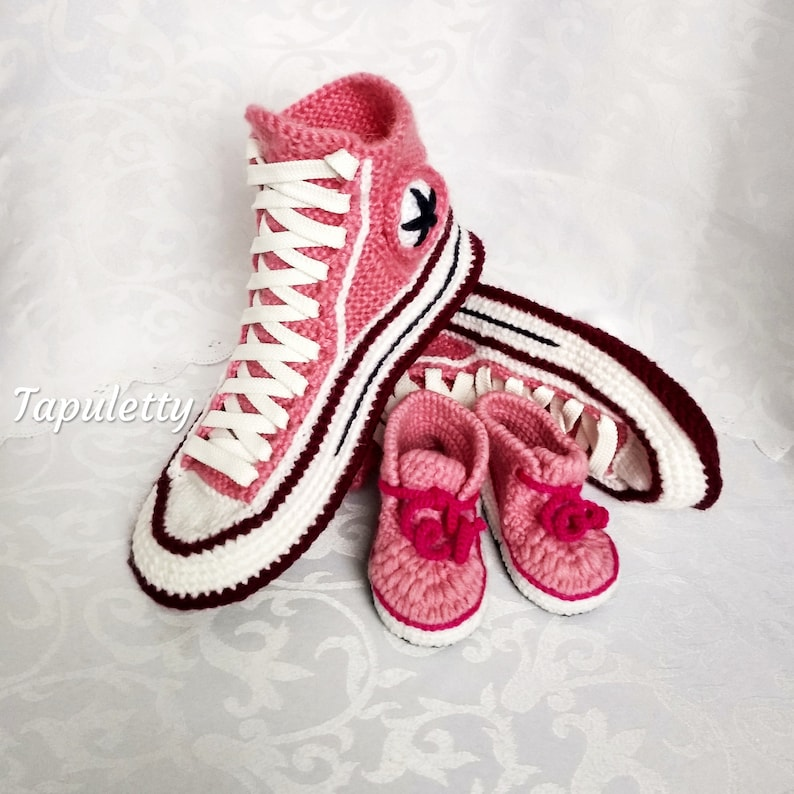 898be9dcad36a0 Knitted converse boots  booties Pink knitted gift for mother