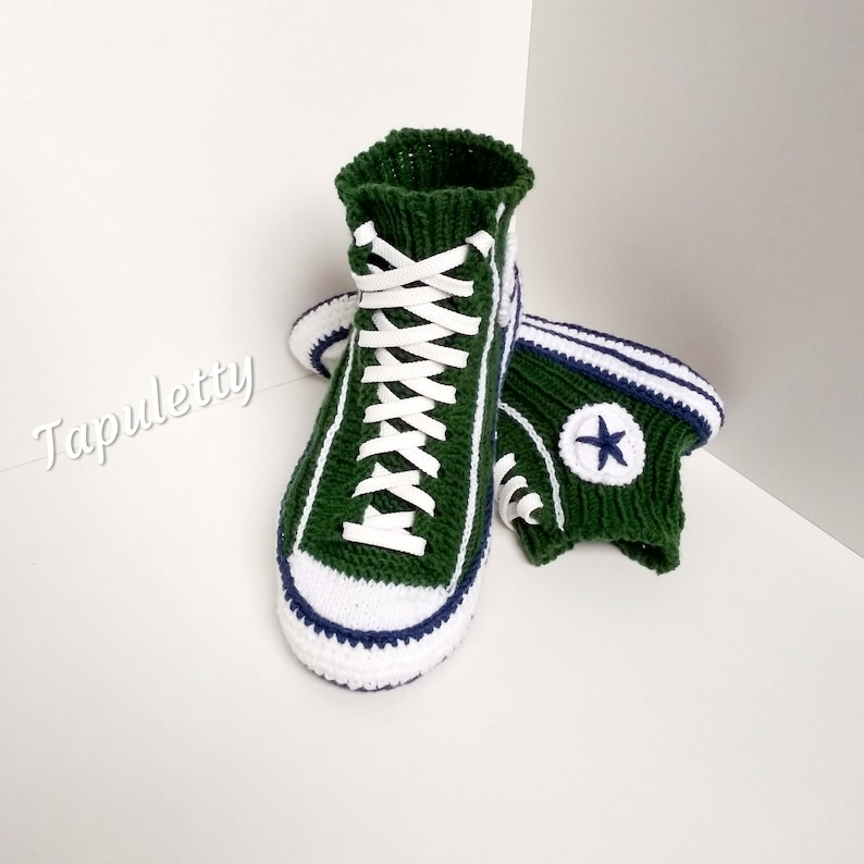 Knitted slippers men Converse boots45 Knitted sneakers converse Crochet converse slippers Knitted socks slippers Socks with sole House shoe