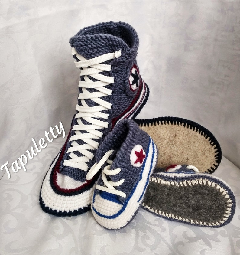 6027abf3cc706e Knitted converse slippers Gift set for father and me Adult