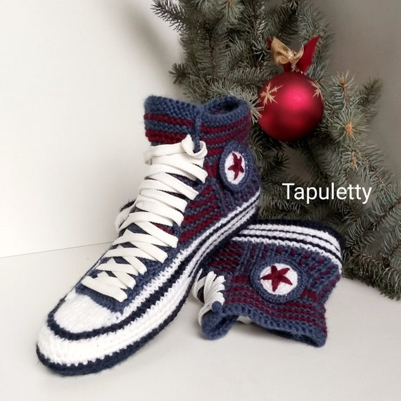 Knitted home slippers Crochet converse boots Winter knitted slippers Socks slippers men Socks with sole House crochet shoe Athletic slippers