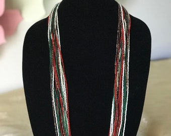 Multi strand multicolor beaded necklace