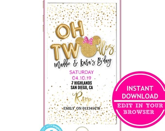Oh Twodles 2nd BirthdayText Invites Birthday INSTANT DOWNLOAD Electronic Invitation Text Message Invite SMS Twins