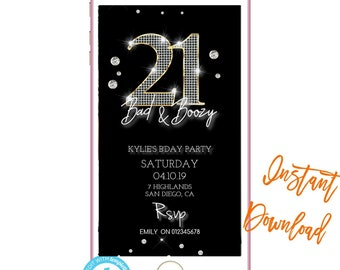 Phone Invitation21st BirthdayText InvitesBirthday Invites INSTANT DOWNLOAD Electronic Invitation Text Message Invite SMS