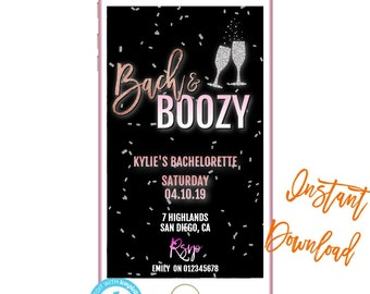 Phone Invitation Bach Boozy Text Invites Birthday INSTANT DOWNLOAD Electronic Message Invite SMS