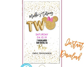 Phone Invitation 2nd BirthdayText Invites Birthday INSTANT DOWNLOAD Electronic Text Message Invite SMS