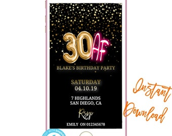 Phone Invitation 30AFText InvitesBirthday Invites INSTANT DOWNLOAD Electronic Text Message Invite SMS