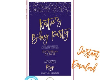 Phone Invitation Save The Date Text Invites Birthday INSTANT DOWNLOAD Electronic Message Invite SMS