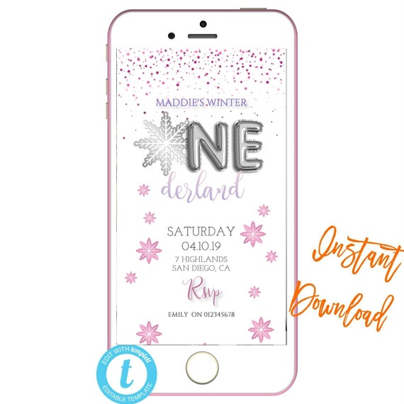 Winter Onederland Text InviteText Invites 1st Birthday INSTANT DOWNLOAD Electronic InvitationText Message Invite SMS