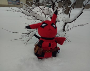 3513f3bd A sample of a plush toy is custom-made, Pokemon toy, plush Pikachu, toy  deadpool marvel. anime toy, cartoon toy. Pikapool