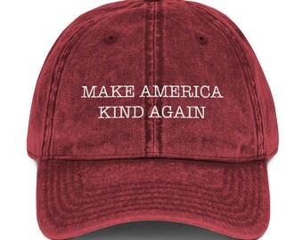 c8b2fedd Make America Kind Again Dad Hat Vintage Cotton Twill Cap