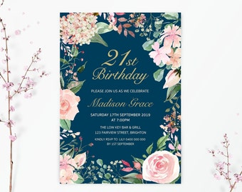 21st Birthday Invitation Invite Floral Navy And Gold Party 1st 18th 30th 40th 50th