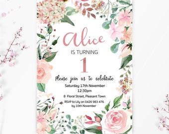 Floral First Birthday Invitation Pink 1st Party Invite Blush Elegant Feminine