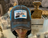 Distressed Vintage Mesh Trucker Hat Custom Pretty Girl By Nature Patched Hat