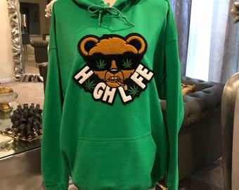 Reworked Hoodie Chenille Bear Patched Hoodie Sweatshirt Mustard Color Hoodie Oversized Hoodie Custom By Reanna Sz Large Women\u2019s