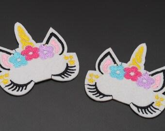 "2 3//4/"" x 3 1//4/"" White Sparkling Unicorn Patch"