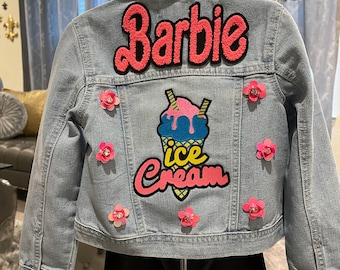 Custom Denim Jacket for Girls Reworked Red Sequin Bow Patched Jean Jacket Love Patched Jacket Custom By Reanna Size 14