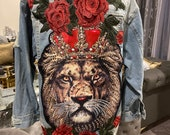 Reworked Distressed Lion and Flowers Patched Denim Jacket, Sz Medium Custom By Reanna