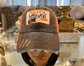 Safety Orange Distressed Vintage Mesh Trucker Hat Custom Pretty Girl By Nature Patched Hat