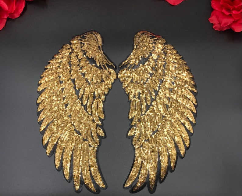 2pc Pair of 14.5\u201d Gold Sequin Angel Wings Gold Wings Patch Embroidered Patch DIY Appliqu\u00e9 Backpack Jacket Iron on Patch