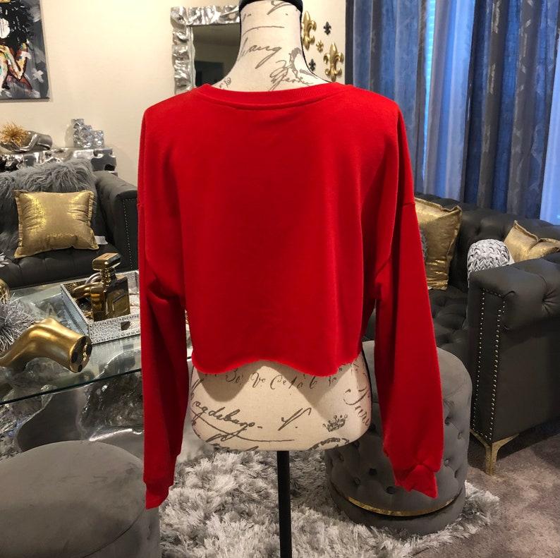 Lightweight Cropped Sweatshirt Custom By Reanna Sz Large Reworked Custom Red Chenille Bear Cropped Sweatshirt Chenille Love Bear Patched