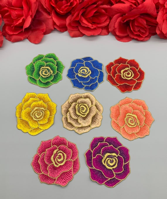 12 Pack Rose Patch Embroidery Flower Applique Sew On Decorative Patches 6 Sets