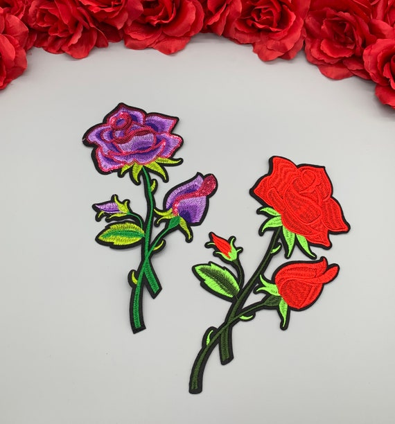 2pc//set Colorful Pink Green Rose Flower Patch Embroidered Iron On Fashion Patch
