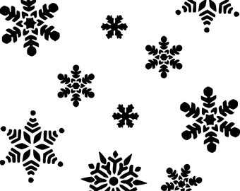 Silhouette Winter Snowflakes Clipart in SVG, EPS, PNG