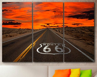 3 panel set Route 66 canvas Highway Chicago Route 66 wall art Road 66 artwork Travel photography Ready to hang art Road trip America road