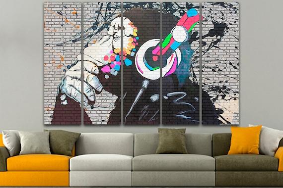 DJ MONKEY BANKSY  PHOTO  PRINT ON FRAMED CANVAS WALL ART HOME DECORATION