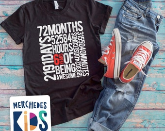 6 Years Of Being Awesome Kids 6th Birthday Bday Tee Shirt Old