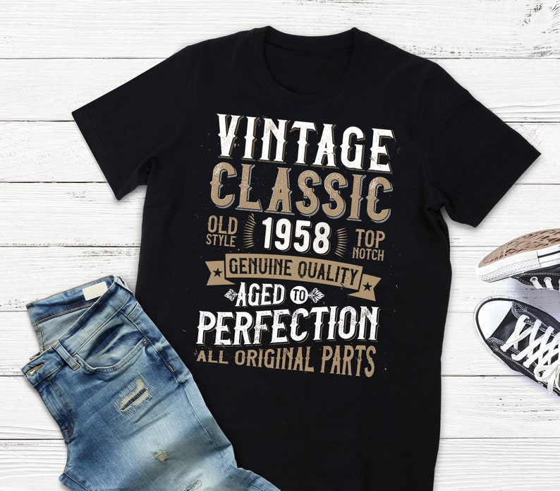 60th Anniversary Birthday Party Shirt 1958 Vintage Aged