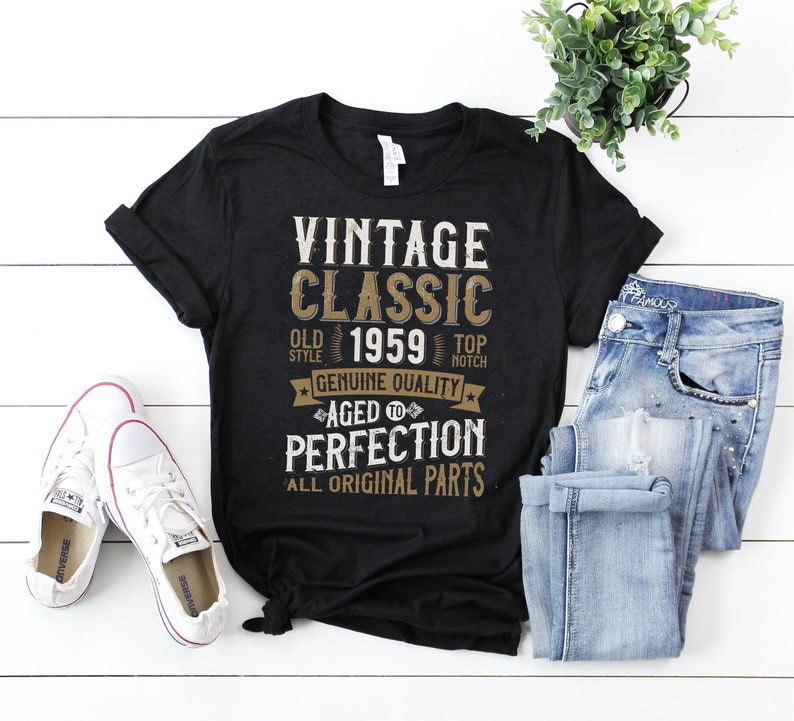 60th Anniversary Birthday Party T Shirt 1959 Vintage Aged To Perfection 6