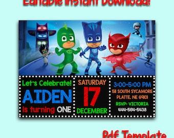 PJ Masks Invitation Pj Instant Download Birthday Printable Editable Mask PDF