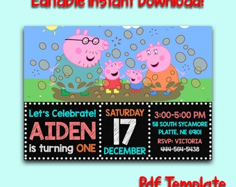 Peppa Pig Invitation Instant Download Birthday Editable PDF Template
