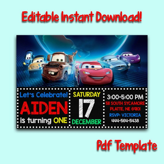 Disney Cars Invitation, Cars Invitation, Disney Cars Instant Download,  Disney Cars Birthday, McQueen Invitation, Cars Editable, Editable PDF