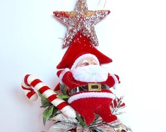 Red and White Boot Planter Santa Booty Single Ceramic Holiday Planter Centerpiece Santa Santa Shoe Vintage Santa Ceramic Boot Planter