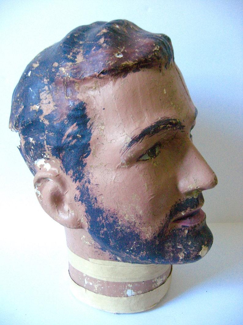 Vintage Plaster Mannequin Head Millinery Bust 1950s 50s Man Male Beard Dark Hair Hat Chapeau Display Mid Century Paper Mache Masculine