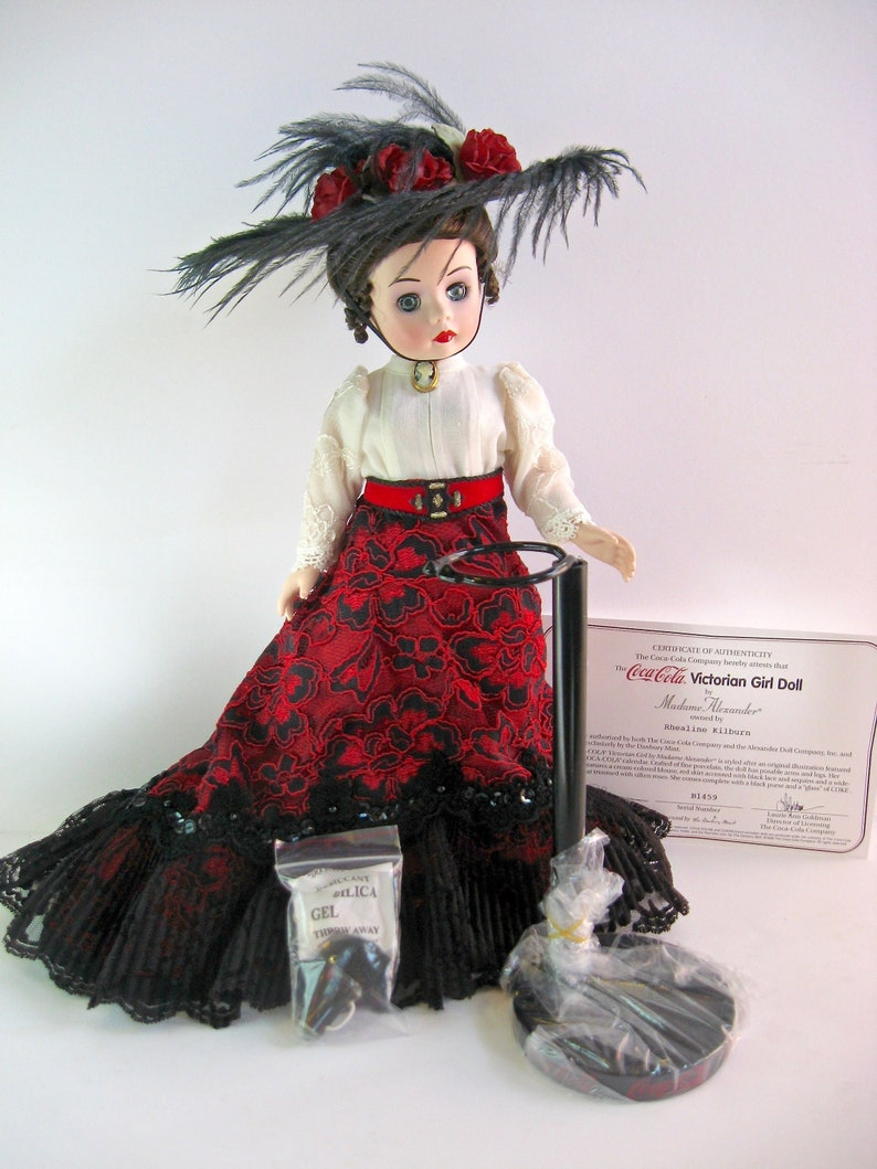 MIB NEW in Box Madame Alexander Coca Cola Victorian Girl Doll Porcelain  Danbury Mint 1990s 90s Collector Bisque Coke Red Black 13