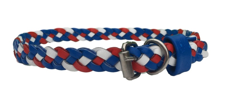 Red Paxleys \u2122 Luxury Triple Woven Stretchy Braided Leather Dog Puppy Collar White and Blue