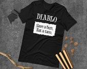 Diablo Taco Sauce Packet 'Save a bun. Eat a taco.' Halloween Costume