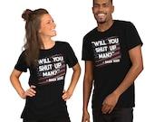 Will You Shut Up Man Biden Trump Debate Quote US Flag Short-Sleeve Unisex T-Shirt