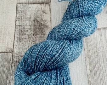 Hand dyed sock yarn with cotton color 034 blue