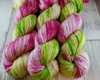 Hand dyed sock yarn with merino and bamboo color 016